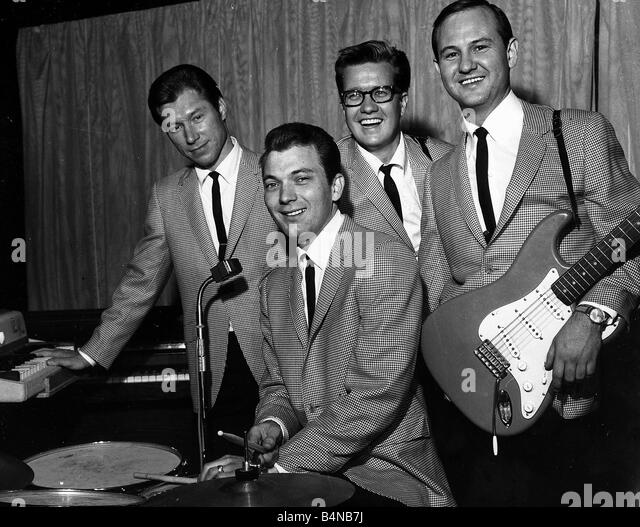 The Crickets pop group with Glen Dee Hardin Buzz Cason Jerry Allison and Sonny Curtis circa 1955 - Stock Image