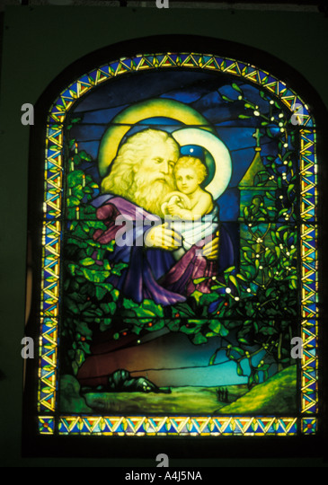 Louis Comfort Tiffany art work Father Christmas Christmas Eve stained glass window - Stock Image
