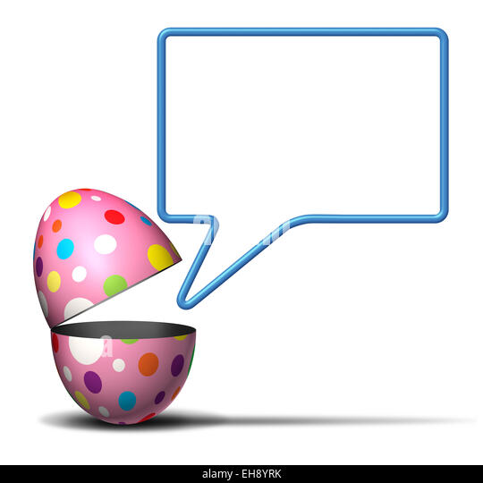 Easter message concept as an open festive decorated spring egg with a talking bubble on a white background as a - Stock Image