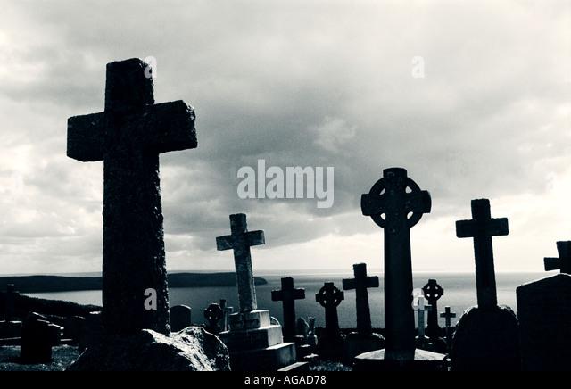Mortehoe cemetery North Devon - Stock Image