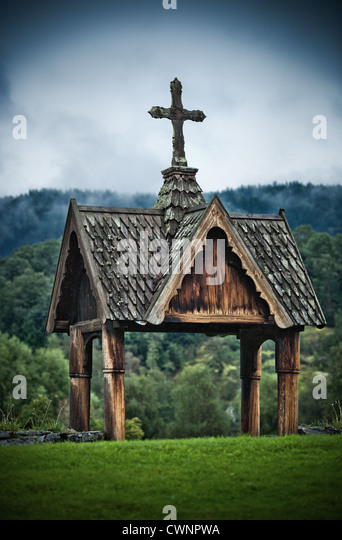 Wooden chapel at cemetery in Norway. - Stock Image