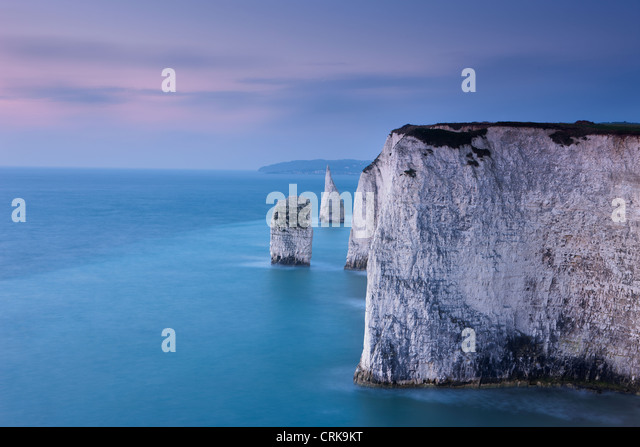 the white cliffs at Studland, Isle of Purbeck, Jurassic Coast, Dorset, England, UK - Stock Image
