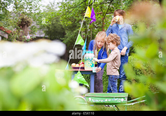 Siblings at their lemonade stand in their garden - Stock Image