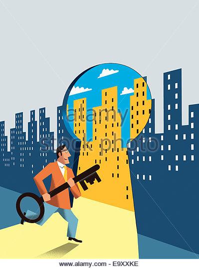 Businessman carrying large key entering bright city through keyhole - Stock Image