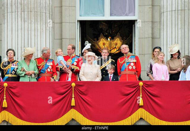 London, UK. 13th June, 2015. Royal Family Buckingham Palace balcony at Trooping the Colour ceremony, Prince Georges - Stock Image