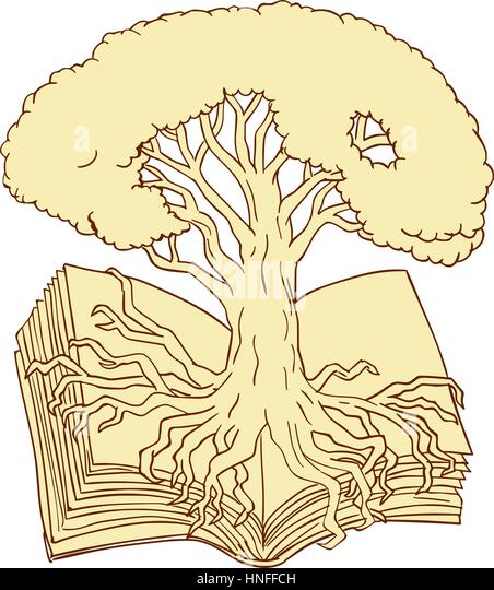 Oak tree with roots sketch