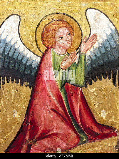 """fine arts, religious art, angels, ""praying angel"", painting, Germany, circa 1330, oil on panel, - Stock Image"