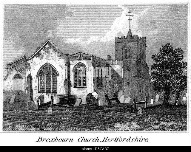 """An engraving entitled """" Broxbourn Church, Hertfordshire """" scanned at high resolution from a book published - Stock Image"""