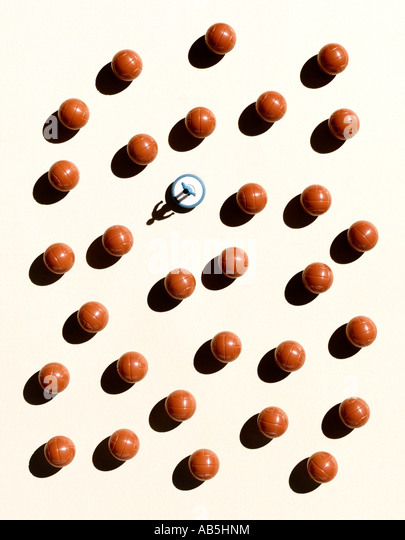 Overhead shot of balls and a Subbuteo player - Stock Image