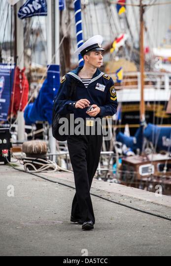 Aarhus, Denmark. 4th July, 2013. Crew member during The Tall Ships Races 2013 in Aarhus, Denmark . The city of Aarhus - Stock Image