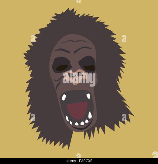 Ferocious gorilla head stock vector Illustration of