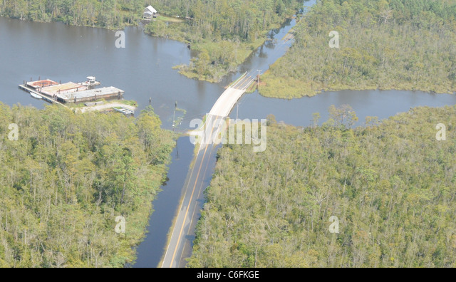 Aerial footage of a flooded road in North Carolina. The photo was taken while supporting FEMA's initial damage - Stock Image
