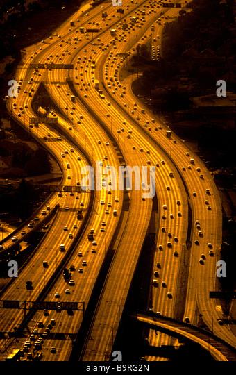Aerial view of freeways, Los Angeles, California. - Stock Image