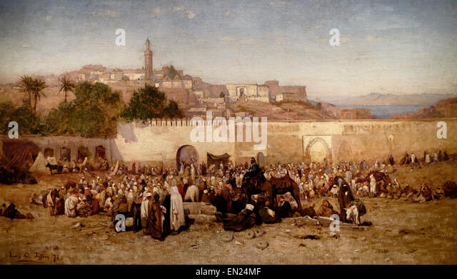 Market Day Outside the Walls of Tangiers, Morocco, circa 1879 Louis Comfort Tiffany - Stock Image