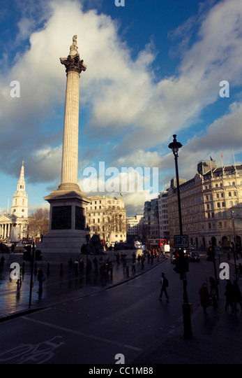 Nelson's Column monument in Trafalgar Square, central London, England, United Kingdom. - Stock Image