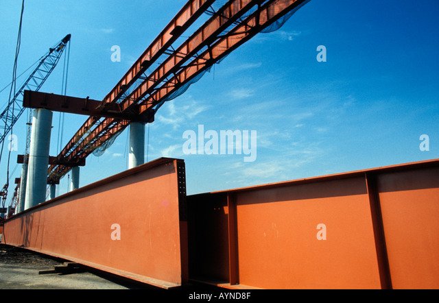 Steel girders on overpass construction site - Stock Image