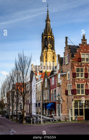 Delft cityscape with Nieuwe Kerk (New Church), Delft, The Netherlands - Stock Image