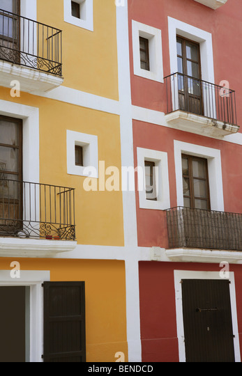 buildings in ibiza, a beautiful and white island of spain - Stock Image