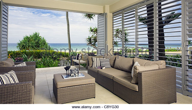 beautiful waterfront suite with ocean views - Stock Image