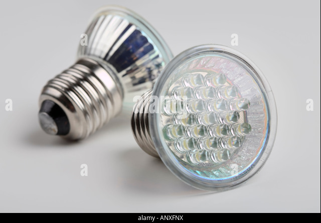 A pair of LED bulb lights with standard E27 Edison screw connector - Stock Image