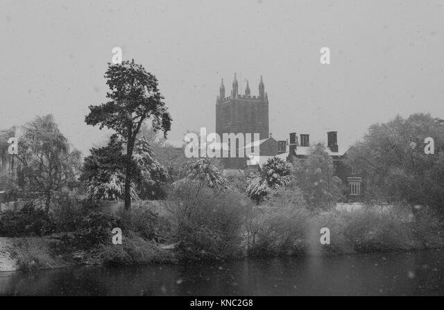 Hereford Cathedral  on the banks of the river Wye, just visable through a snow storm Hereford UK 2017 - Stock Image