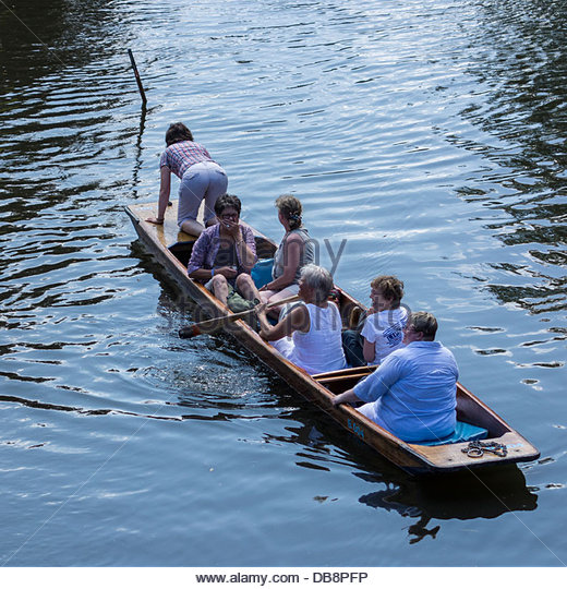 An inexperienced punter loses the punt pole while punting on the River Cam in Cambridge - Stock Image