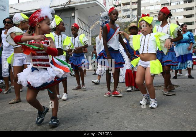 Street carnival in the historical centre of Havana, Cuba. - Stock Image