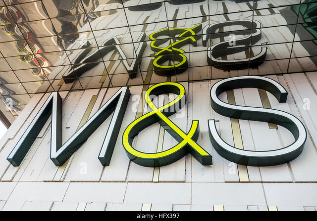 M&S Marks & Spencer store logo outside Westfield Stratford, London, UK - Stock Image