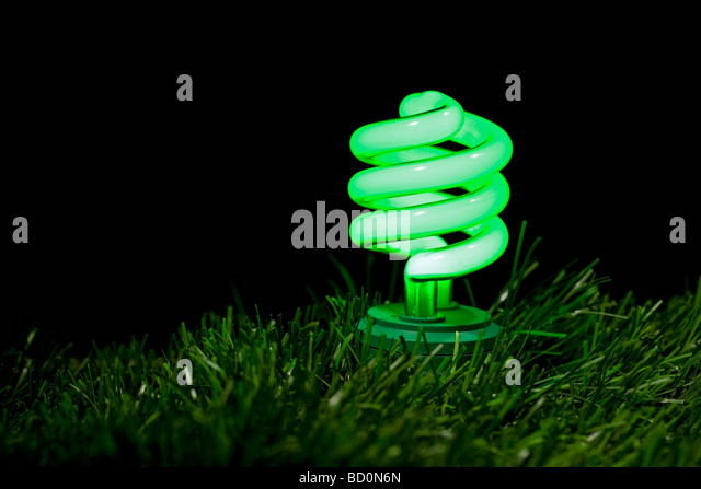 Close up of green fluorescent bulb - Stock Image