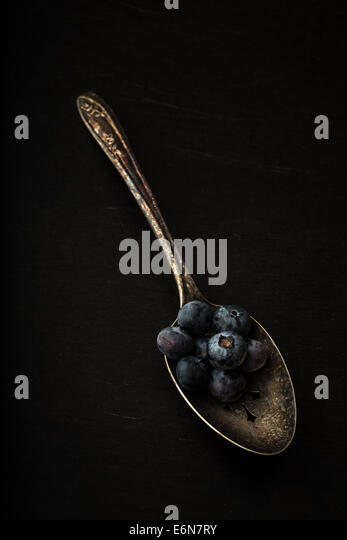 Fresh picked blueberries on a old silver spoon - Stock Image