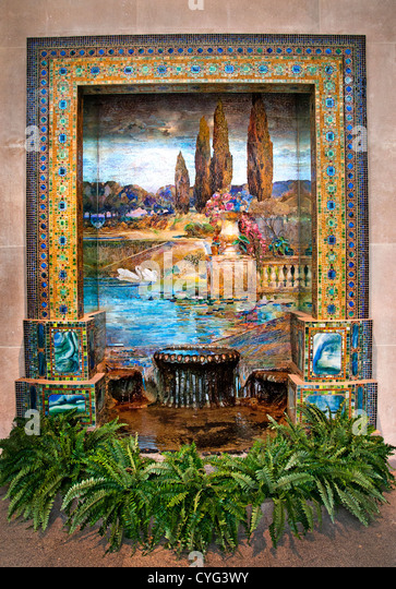 Garden Landscape by Louis Comfort Tiffany American New York City 1848–1933 Favrile glass mosaic 262 x 289 cm - Stock Image