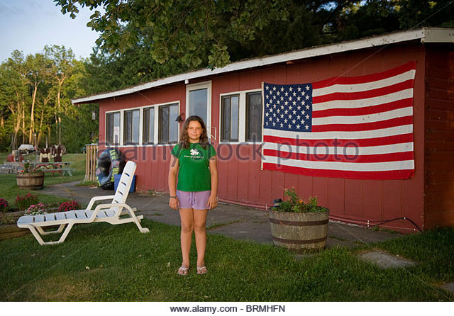 A girl vacations in Leech Lake, Minnesota - Stock Image